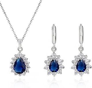 Lacrima Zaffiro simulato blu Cristalli austriaci di zirconi Purare Collana con ciondolo 45 cm Orecchini18 kt placcato oro ...
