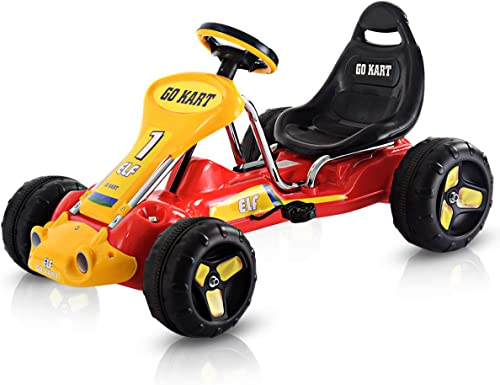 Costzon Pedal Go Kart, 4 Wheel Ride on Car, Pedal Powered Ride On Toys for Boys & Girls with Adjustable Seat, Pedal C...