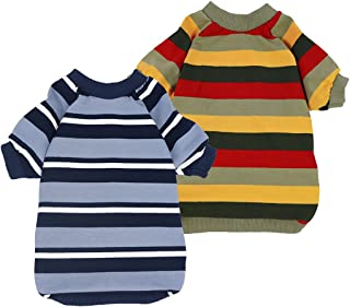Fitwarm 2-Pack 100% Cotton Striped Dog Shirt for Pet Clothes Puppy T-Shirts Cat Tee Breathable Strechy Green Blue XS