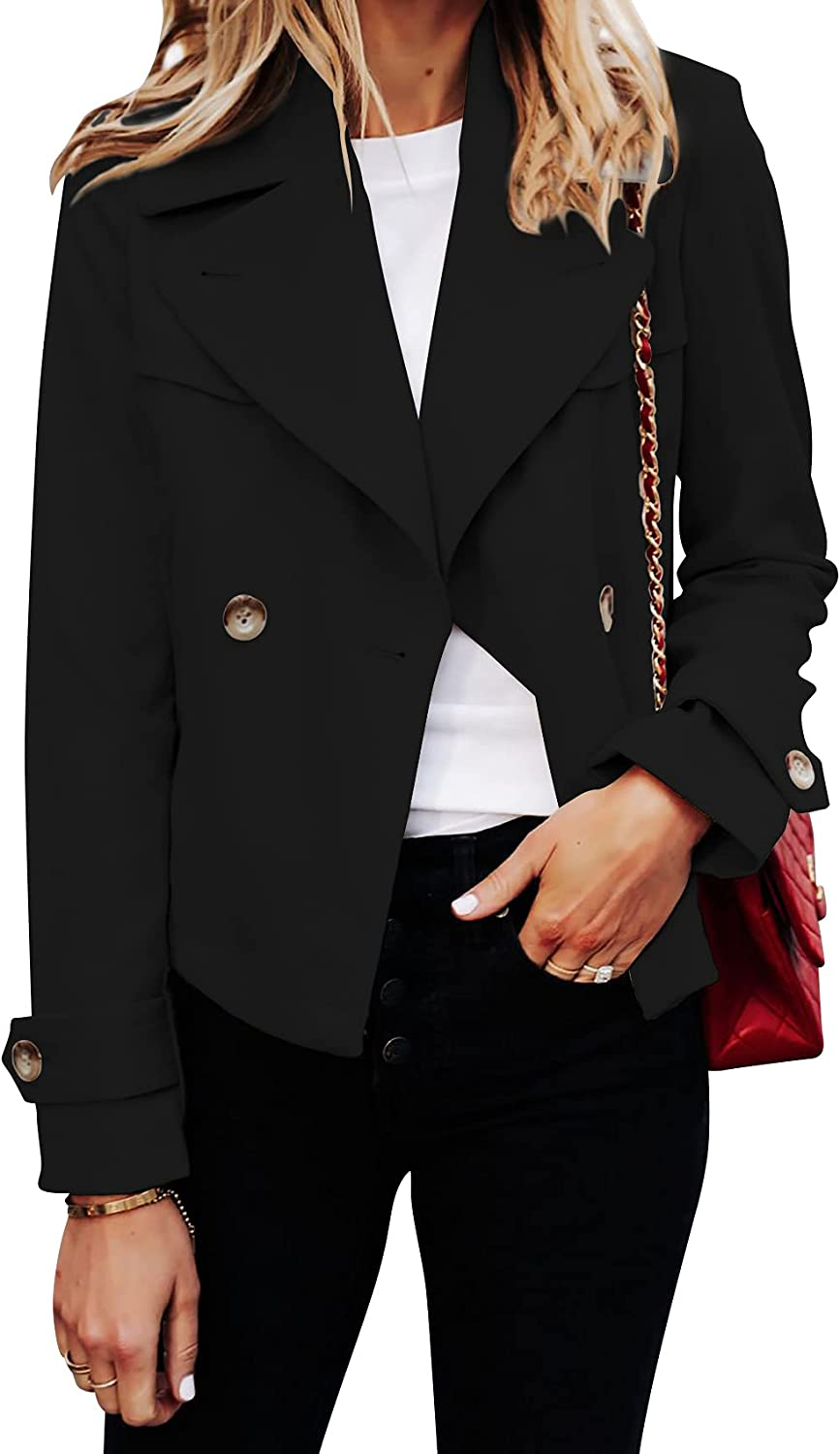 Womens Lightweight Trench Coat Double Breasted Lapel Collar Clas