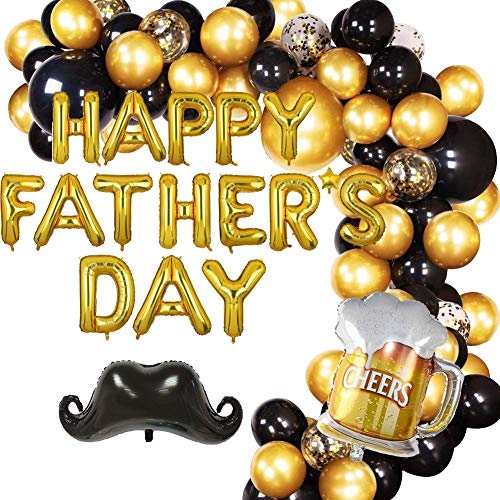 caicainiu Fathers Day Decoration Balloon Arch Kit Includes Gold Black Gold Confetti Latex Balloons and Beer Cup Beard Foil Balloons Perfect for Fathers Day Party Decoration Supplies