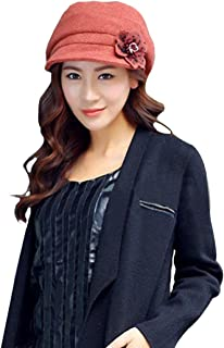 LerBen Women Knitted Warm Cloche Fedora Brim Bowler Hat Slouchy Cap