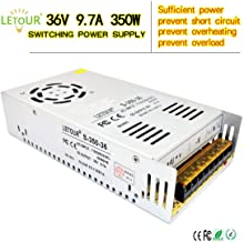 LETOUR 36V Power Supply 9.7A 350W、AC96V~130V Transform DC 36Volt Power Supply with EMC Filter、Overcurrent and Overvoltage Protection DC Device Drive Power (Silver)
