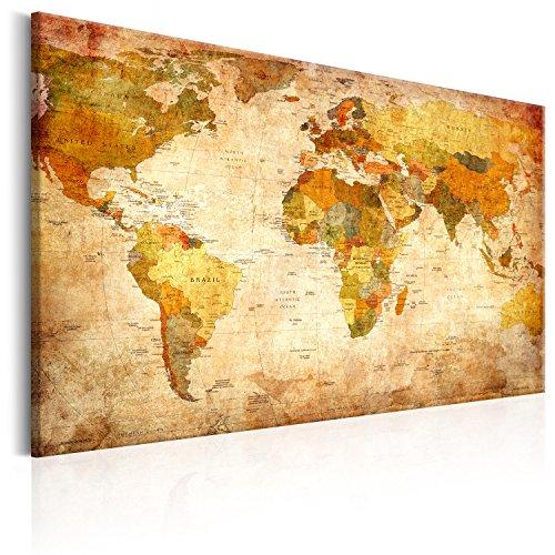 murando - Mapamundi con Tablero para Clavar chinchetas 120x80 cm - Cuadro en Lienzo sintético - 1 Parte - Panel de Fibra - Mapa del Mundo Continente - Viajes geografia Vintage k-B-0051-v-a