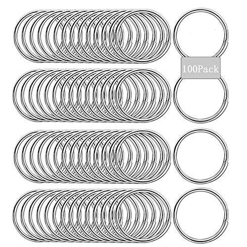 Sunshine smile Nyckelringar i rostfritt stål, rundade kanter nyckelring, ringklämmor, runda ringar av metall, delad ring, nyckelring av rostfritt stål