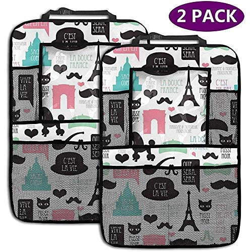 Car Backseat Organizer Eiffel Tower Cat Waterproof Car Seat Protector Kick Mats with Storage Pockets for Kids Toy Drink Bottle Travel Accessories 2 Pack