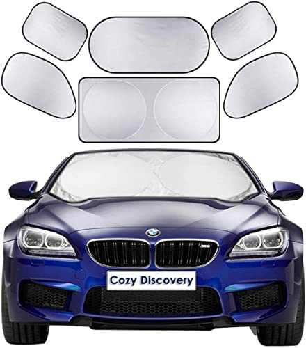 Car Windshield Sun Shades 6-in-1 Cover Set, Includes 1 Front Window Sunshade Cover (150x70 cm) & 1 Rear Windshield Sh...
