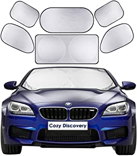 Windshield Sun Shades 6-in-1 Full Cover Set - 1 Front Auto Window Sunshade Cover (59 x 27.5 inches) and 5 Side Window Sunscreens Cover All Around to Keep Your Car Cool, Large Car UV Protectors