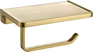 TRUSTMI Toilet Paper Holder with Phone Shelf, Bathroom Accessories Tissue Roll Dispenser Storage Wall Mounted, Brushed Gold