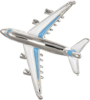 White Blue Enameled Airplane Aircraft Brooch Aviation Jewelry Plane Gift for Pilot Flight Attendant Air Force Traveler