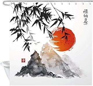 NYMB Japanese Bamboo Trees Sun and Mountains Bath Curtain, Polyester Fabric Waterproof Asian Ink Painting Shower Curtains, 69X70 in, Shower Curtain Hooks Included, Red