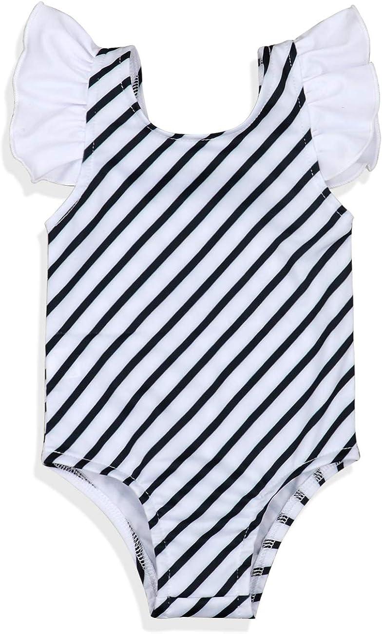 Oklady Baby Girl Swimsuit Stripe Print Bikini Ruffles Sleeve Bathing Suit with Headband