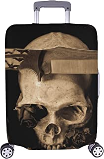 Still Life Human Skull Knife Soldier Stock Photo Pattern Spandex Trolley Case Travel Luggage Protector Suitcase Cover 28.5...