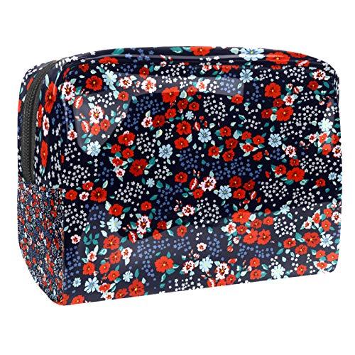 Bolsa de maquillaje portátil con cremallera bolsa de aseo de viaje para mujeres práctico almacenamiento cosmético pequeña flor roja