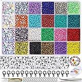 8200Stk Perlen zum Auffädeln 3mm Mini Glasperlen Kleine Rocailles Perlen zum Basteln für selber Ketten Ringe und Armbänder zu machen