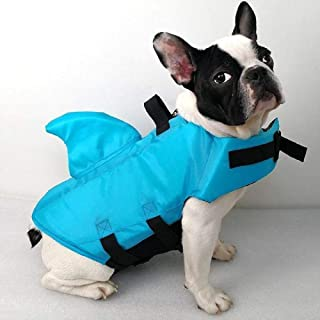 SwimWays Sea Squirts Dog Life Vest w/Fin for Doggie Swimming Safety, Color: Blue, Rest at Ease Knowing Your Pooch has a Life Preserver for Water Safety at The Pool, Beach, Boating