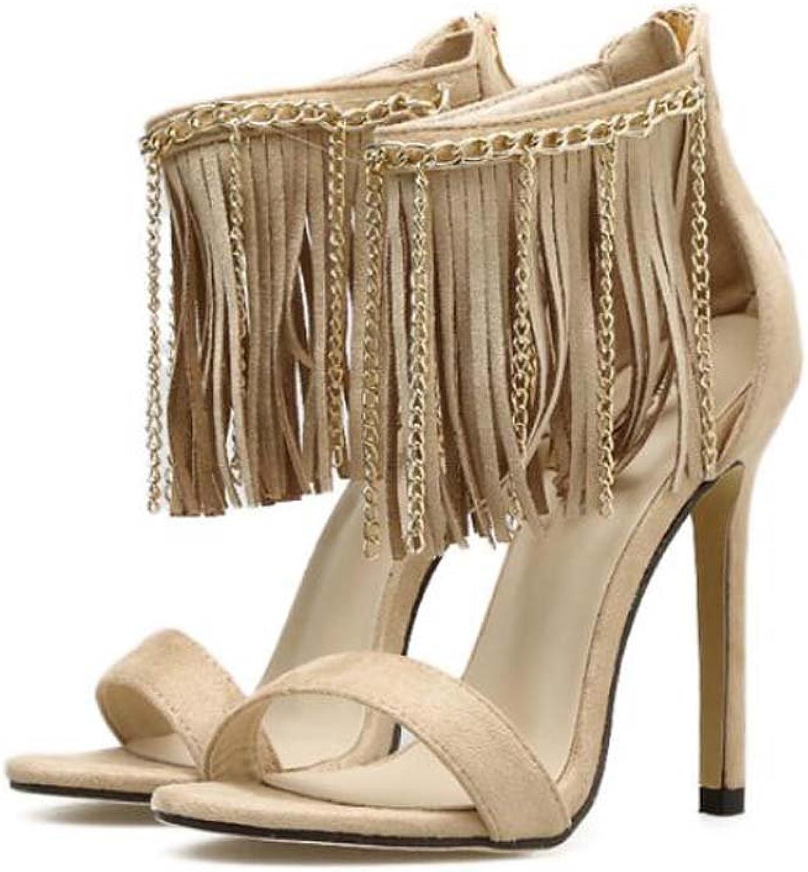 Women Pump 11cm Stiletto Sandals Open Toe D'Orsay Tassel Ankel Strap Dress shoes Sweet Suede Metal Chain OL Court shoes Roma shoes EU Size 34-40