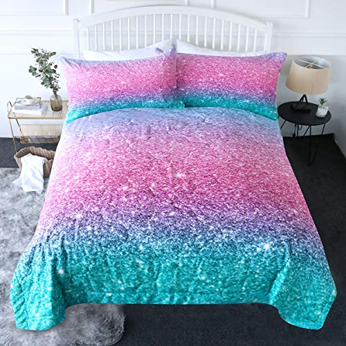 BlessLiving Pink Comforter Set Full/Queen Size Mermaid Glitter Bedding Set Teen Girls Bedspreads 3 Piece Women Pastel Rainbow Comforter 3D Reversible Blue Turquoise Quilt with 2 Pillow Shams
