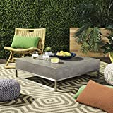 "Safavieh VNN1017A Collection Eartha Dark Grey Indoor/Outdoor Modern Concrete 11.42"" Coffee Table"