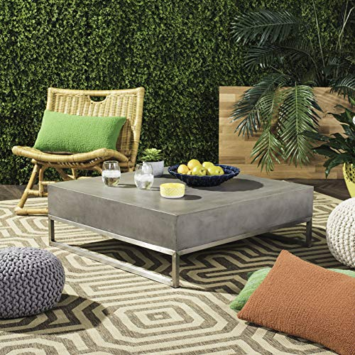 Safavieh VNN1017A Collection Eartha Dark Grey Indoor/Outdoor Modern Concrete 11.42' Coffee Table