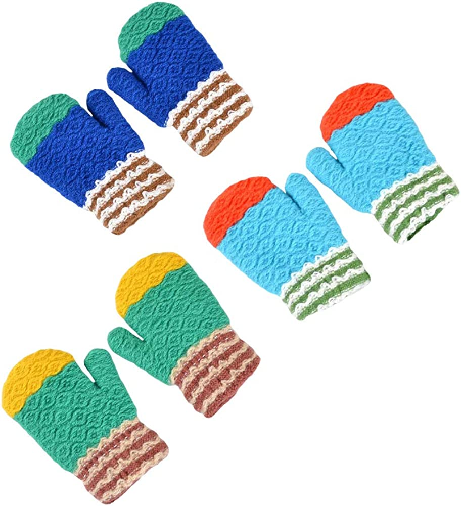CHUANGLI 3 Pairs Toddler Warm Winter Full Finger Gloves Thick Fleece Lined Mittens for Baby Girls Boy
