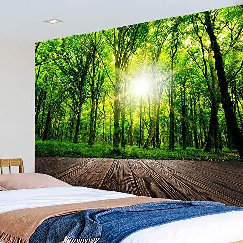 KHKJ Sol a través de un Gran árbol Tapiz Bosque Naturaleza Paisaje Manta Colgante de Pared Mandala Alfombra Dormitorio Boho decoración del hogar A4 200x150cm