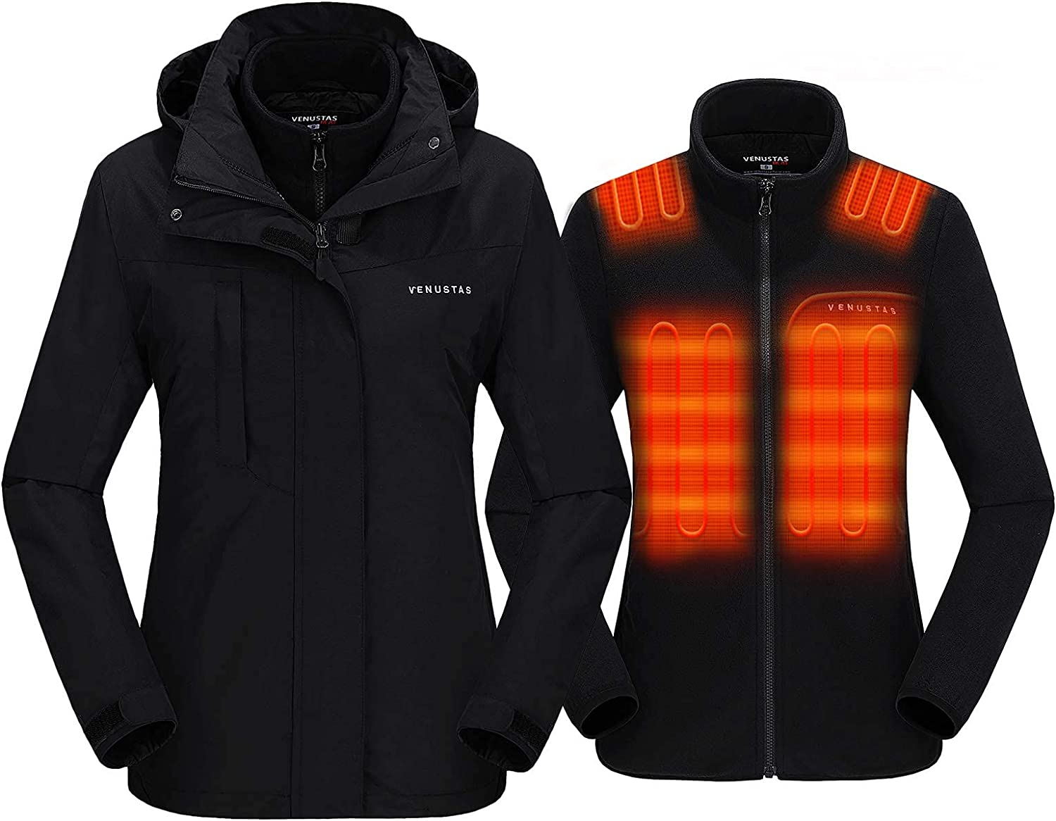 Venustas OFFicial Women's 3-in-1 Heated Jacket Pack with 7.4V Max 40% OFF Sk Battery