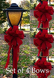 Floral Home Decor Set of 4 Wired Red Velvet Christmas Bows