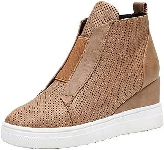 Womens Wedge Platform Sneakers Ankle Booties High Top Zipper Platform Ankle Booties Wedge Sneakers