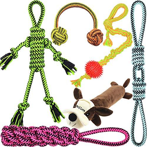 [Upgrade Version] Well Love Dog Toys - Chew Toys - 100 Natural Cotton Rope - Squeak Toys - Dog Balls - Dog Bones - Plush Dog Toy - Dog Ropes - Tug of War Ball - Toys for Dog 6pack Set
