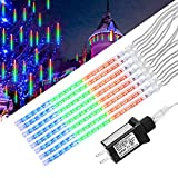 String lights,Paragala Waterproof Falling Rain Fairy Lights With 50cm 240 LED 8 Tubes Meteor Shower Rain LED Christmas Lights for Wedding Party Xmas Tree Indoor Outdoor Gardens Decoration (50cm,White)