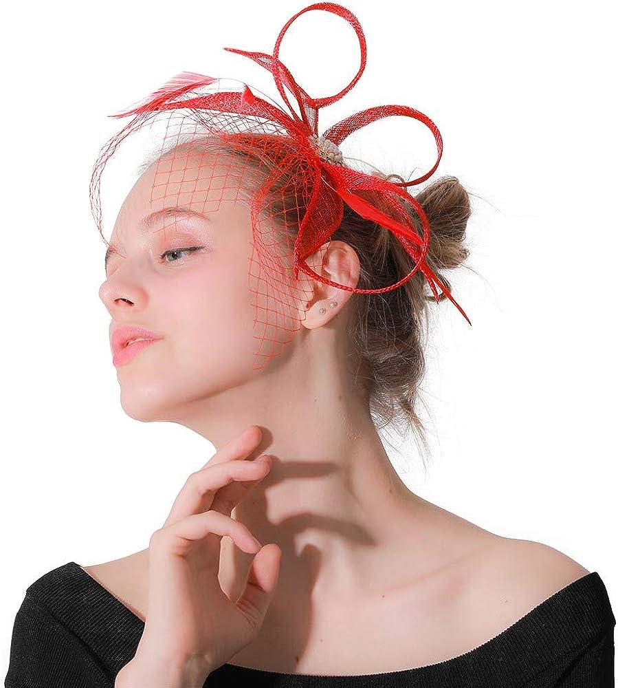 red Fascinator Headbands Sinamay Cocktail Hats Elegant Women Derby Wedding XMF170