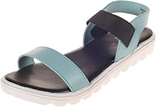 Cleo by Khadim's Synthetic PVC Sole Blue Solid Sandal for Women