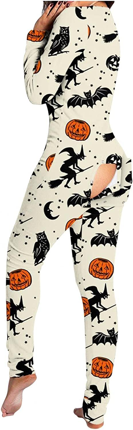 UOCUFY Pajamas for Women,Sleepwear with Button Dressy Long Sleeve Functional Buttoned Flap Adults Halloween Jumpsuit Rompers