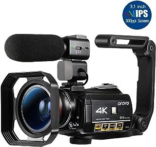 ORDRO AC3ビデオカメラウルトラHD 4kカムコーダー、マイク、1080P 60fps、デジタルズーム、3.1インチIPS、赤外線ナイトビジョン付きWi-Fiカメラレコーダー、広角レンズ、バッテリー2個