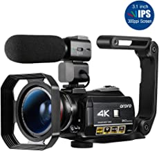 "ORDRO HDR-AC3 Video Camera Ultra HD 4k Camcorder with Microphone,1080P 60fps, Digital Zoom, 3.1"" IPS, Wi-Fi Camera Recorde..."