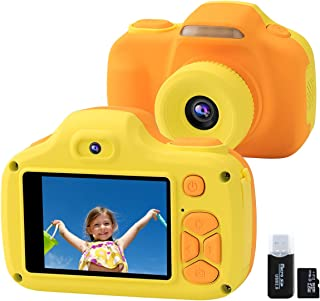 Kids Camera for Boys Girls Gifts with 16GB TF Card, 12MP Selfie 1080P HD Digital Video Camcorder Camera for Children Age 3-12 Shockproof Soft Silicone Mini Learning Toy Cameras with Flash (Yellow)
