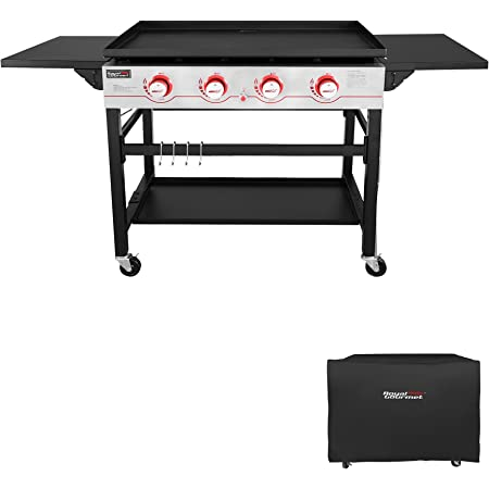 Royal Gourmet GB4000C 36-Inch Flat Top Gas Griddle with Protected Cover, 4-Burner Propane Grill, Black