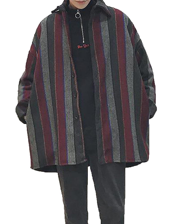 PIITE メンズ コート 冬 オーバー ストライプ トップス カジュアル チェック柄 中綿 韓国風 厚手 長袖 暖かい ハンサム