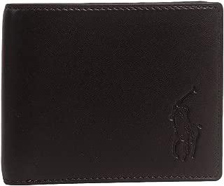 Polo Ralph Lauren Men's Big Pony Logo Lambskin Billfold Wallet Brown