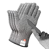 DEYAN Cut Resistant Gloves - 2 Pairs Food Grade Safety Cutting Gloves, Level 5 Protection, Used for Meat Cutting, Oyster Shucking, Wood Carving, Gardening (Large)