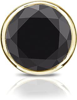 18k Gold Round Black Diamond SINGLE STUD Earring (1/4-1ct TW) Bezel Set, Screw-Back