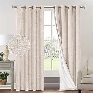 Primitive Textured Linen 100% Blackout Curtains for Bedroom/Living Room Energy Saving Window Treatment Curtain Drapes, Bur...