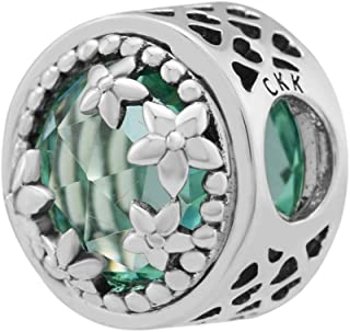 CKK 925 Sterling Silver Magnolia Bloom Flower Charms with Green Classic Crystal Charms for Pandora Bracelets Jewelry Making