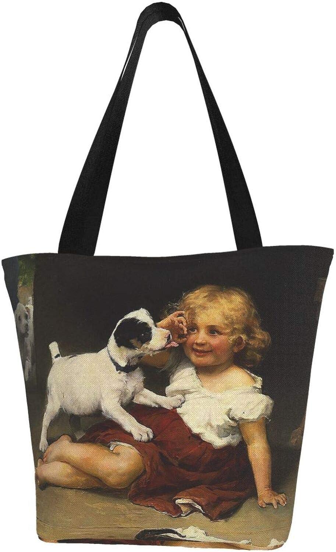 Cute Dog Baby Jack Russell Terrier Girl Vintage Themed Printed Women Canvas Handbag Zipper Shoulder Bag Work Booksbag Tote Purse Leisure Hobo Bag For Shopping