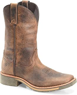 Double-H Boots Trinity Women's Size 11 Roughout Brown Leather Square Toe Slip On Boots