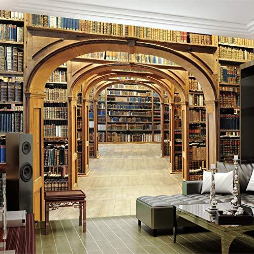 Abihua Wandbilder 3D Wallpaper Space Expansion Bücherregal Wandbild Esszimmer Studie Home Decor Retro 3D 250Cm X 160Cm