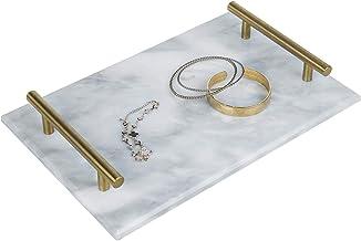 صينية تقديم حجر الرخام الأبيض مقاس 30.48 سم بمقابض معدنية نحاسية عتيقة من ماي جيفت