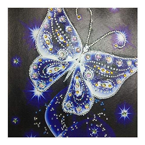 Diamond DIY 5D Painting,veyikdg 30x30cm Butterfly Shaped Pattern Partial Drill Cross Stitch Kits Home Wall Bed Living Room Crystal Adult Kid Rhinestone Picture Serial Embroidery Art Craft Gift(Blue)