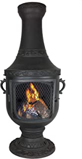 The Blue Rooster Venetian Grill Wood Burning Chiminea Charcoal Color - Free Deck Protector Included ($59.95) Value